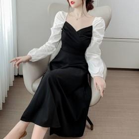 设计感洋气法式黑色裙2021新款时尚拼接连衣裙女