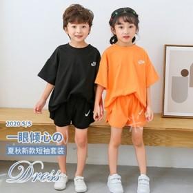 儿童纯棉夏季韩版短袖套装薄T恤短裤休闲亲子装姐弟装