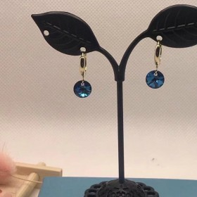 14K包金耳圈蓝色圆片闪亮吊坠耳圈耳环