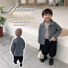 男童韩版牛仔衬衫春秋外套儿童帅气长袖衬衣宝宝防蚊