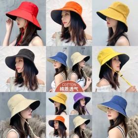 2个装夏季渔夫帽出游大沿防晒帽子女韩版潮网红双面帽