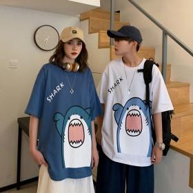 港风卡通鲨鱼短袖T恤ins潮流情侣半袖宽松体恤