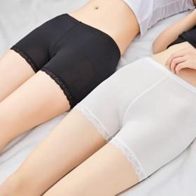 夏季女三分冰丝安全裤薄款防走光短裤蕾丝花边外穿大码
