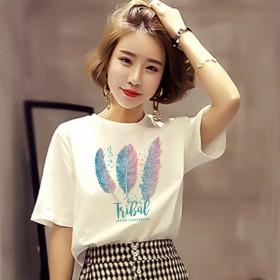 印花牛奶丝T恤女装短袖新款夏季宽松半袖