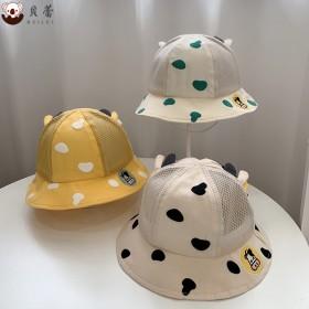 夏季新款儿童帽子卡通奶牛半网渔夫帽男女宝宝可爱户外