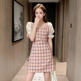 连衣裙2021春款气质韩版女格子短袖收腰显瘦雪纺