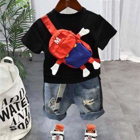 潮童装男童夏装2021年新款套装网红炸街儿童包包洋