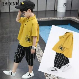 男孩洋气韩版短袖套装