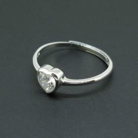 心形锆石纯银戒指