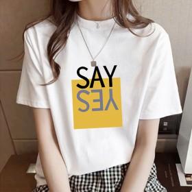 纯棉短袖女夏季T恤宽松大圆领夏印花上衣女学生百搭