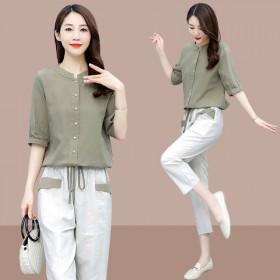 棉麻套装裤女短袖上衣九分裤时尚两件套