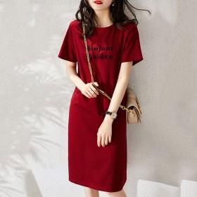 【棉】2021夏季宽松显瘦印花T恤连衣裙女装学生韩