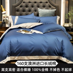 160支埃及长绒棉四件套全棉纯棉床单被套床笠可裸睡