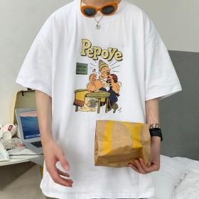 五分T恤男夏季圆领大码宽松休闲百搭半袖上衣