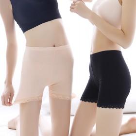 冰丝无痕防走光三分裤 低腰安全裤莫代尔 蕾丝花边打