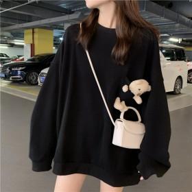 韩版宽松可爱小熊长袖紫色卫衣女上衣