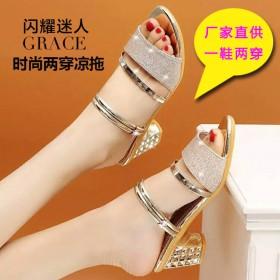 2021新款女士凉拖鞋粗跟中跟凉鞋露趾性感百搭凉鞋