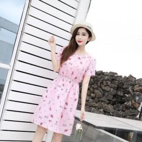 显瘦韩货洋气法式小个子气质收腰碎花连衣裙