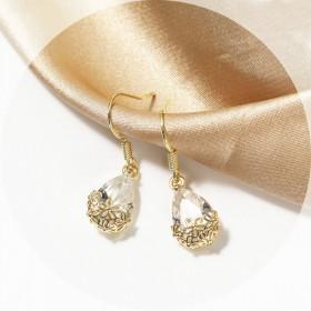 限时特价S925银耳钩韩国小众高级感新款水晶耳环