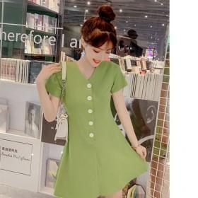 小清新牛油果绿短袖连衣裙单排扣A字裙中长款圆领夏