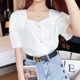 露锁骨方领短袖雪纺衬衫女装夏季新款珍珠扣