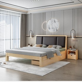 实木床1.8米现代简约双人床1.0m出租房经济型简