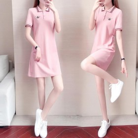 Polo连衣裙女夏季新款短袖绣花流行直筒裙子运动中