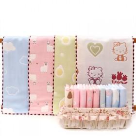 5条 100%纯棉儿童毛巾6层棉纱宝宝浴巾