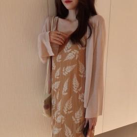 韩版仙女吊带长裙网红套装春夏防晒开衫两件套连衣裙