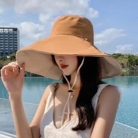 超大帽檐帽子女夏遮阳帽防晒渔夫帽韩版百搭防紫外线遮