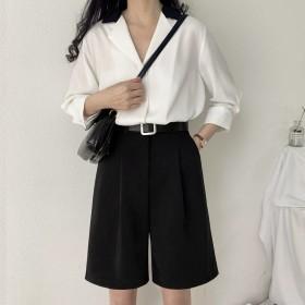 五分裤垂感西装短裤女夏季宽松显瘦外穿超高腰阔腿裤