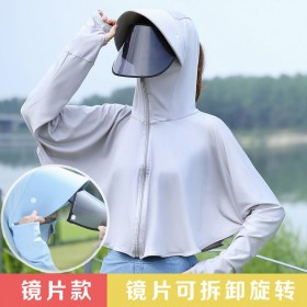 防晒帽子女遮阳帽防晒披肩夏季防紫外线骑车冰丝防晒衣