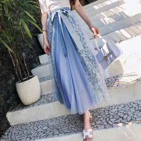网纱半身裙女2021早春新款高腰长款仙纱裙蕾丝拼接