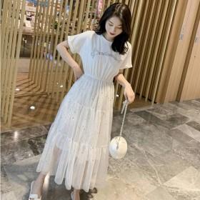 连衣裙夏季女装亮片网纱短袖学生韩版宽松ins小个子