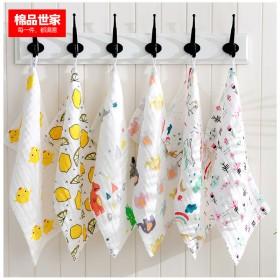 5条 纯棉棉纱宝宝毛巾褶皱吸水婴儿童洗脸手帕