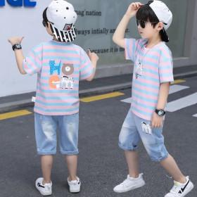 童装男童夏季套装儿童条纹洋气中大童短袖牛仔休闲夏款