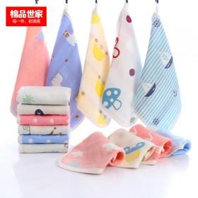5条 6层纯棉棉纱儿童毛巾婴幼儿洗脸擦手巾可挂式
