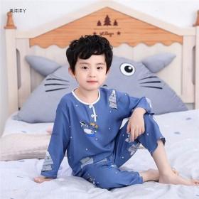 夏季儿童棉绸睡衣宝宝男童绵绸小孩长袖套装男孩女童薄
