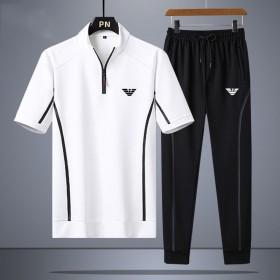 夏季休闲运动套装男士短袖T恤小脚九分裤宽松大码透气