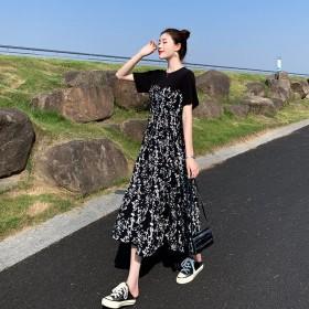 连衣裙女2021夏装新款中长款拼接碎花裙气质高腰
