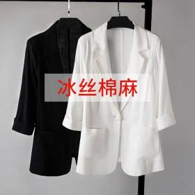 新款韩版修身小西装外套女薄款垂感七分袖西服