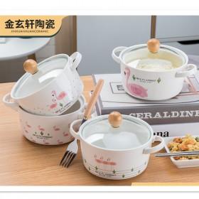 北欧创意火烈鸟双耳泡面碗可爱少女心陶瓷沙拉碗