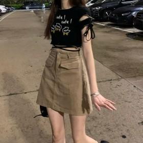 牛仔半身裙女ins复古高腰小个子百搭显瘦A字裙