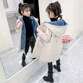 女童秋冬装新款韩版加绒外套中大童儿童派克服