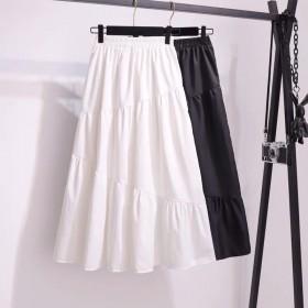 半身裙女夏季2021新款韩版高腰松紧腰纯色仙女裙