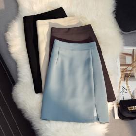 夏季新款高腰显瘦开叉半身裙A字包臀防走光百搭气质短