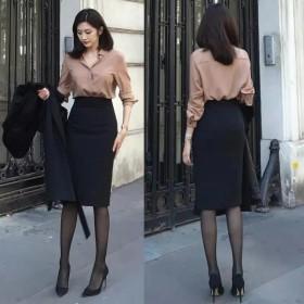 新款包臀裙女显瘦高腰春夏包裙一步裙半身裙西装裙中长