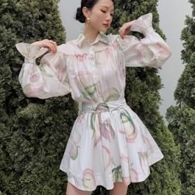 木耳边抽褶灯笼袖落肩印花丝麻衬衣衫、半裙套装