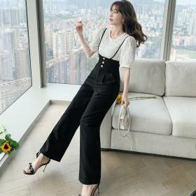 黑色时尚气质阔腿裤套装女2021年夏季新款高腰垂感