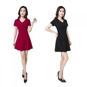 纯棉连衣裙V领小黑裙短款